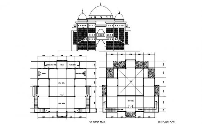Autocad drawing of the mosque with elevation