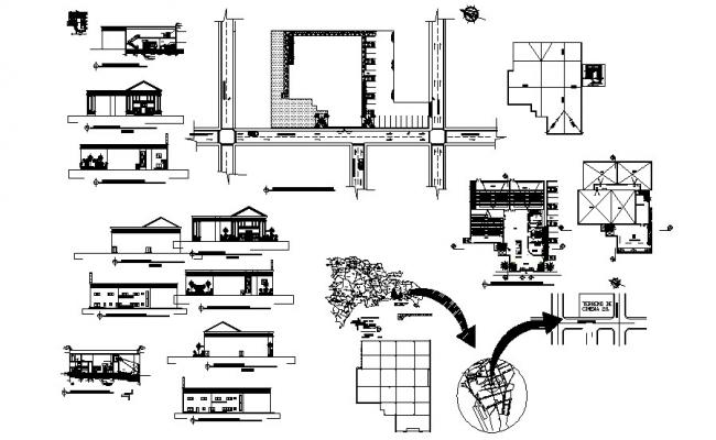 Autocad drawing of the multiplex  with elevations