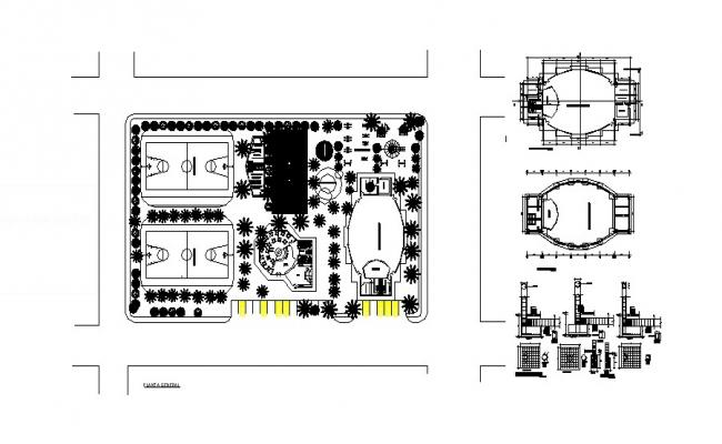 Autocad drawing of the recreational complex with detail