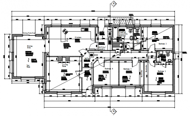 Autocad drawing of the residential house