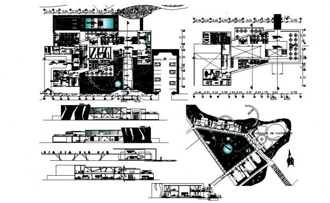 Autocad drawing of the restaurant with detail dimension