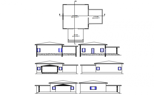 Autocad drawing of the restaurant with elevations