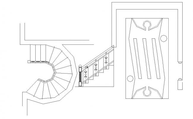 Autocad drawing of the spiral staircase