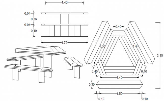 Autocad drawing of the table