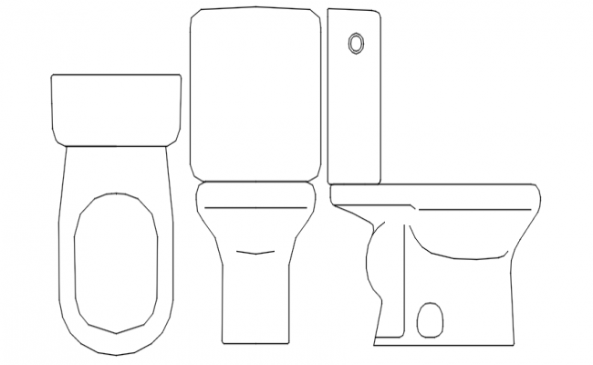 Autocad drawing of toilet and bidets blocks