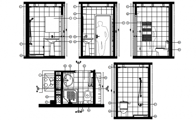 Autocad drawing of toilet layout with elevations