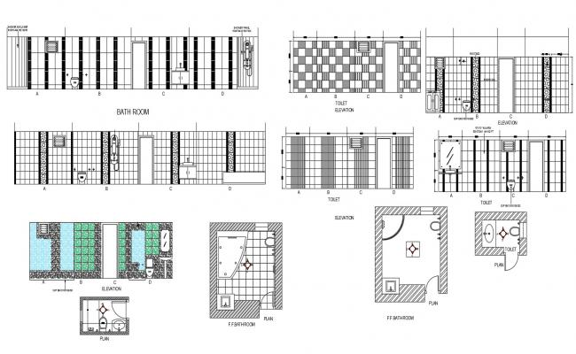 Autocad drawing of toilets and bathroom with elevation