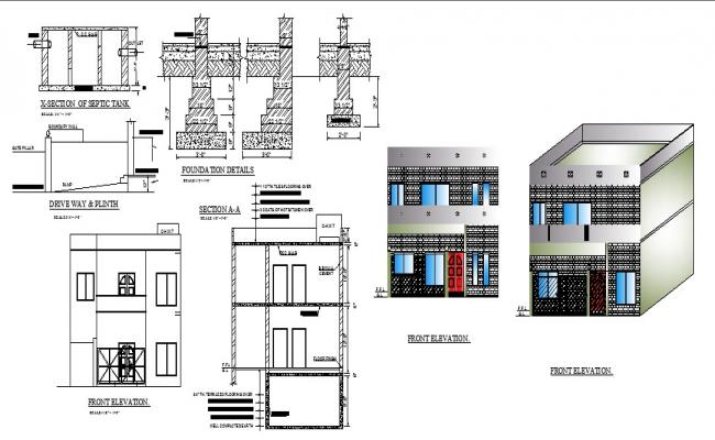 Autocad drawing of two story residential house