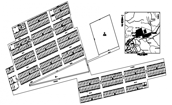 Autocad drawing of urban planning of housing