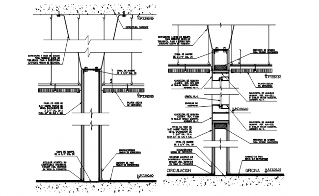 Autocad drawing of wall partition detail
