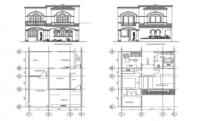 Autocad drawings of single house plan and elevation detail