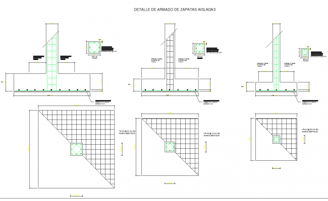 Autocad dwg files of Detail of isolated footings