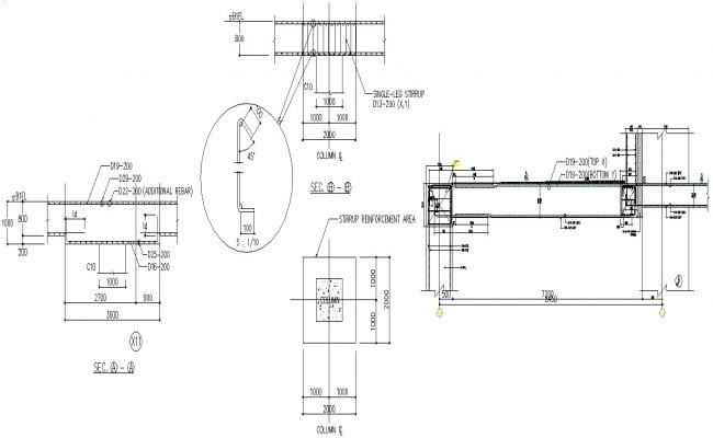Autocad DWG file having the sectional details of RC column ,Download the Autocad DWG file.