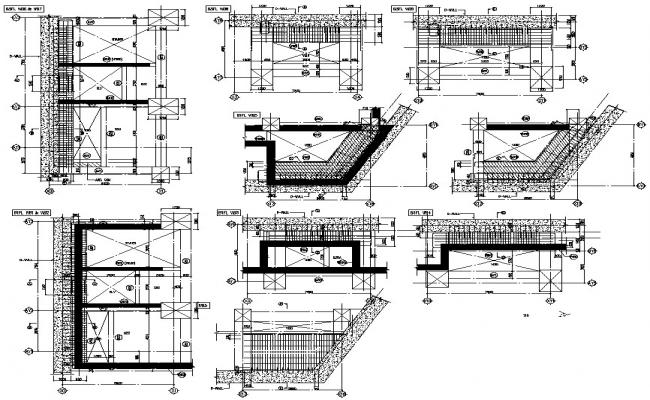 Autocad DWG file having the sectional details of the RC reinforcement design of the concrete staircase,Download the DWG file.