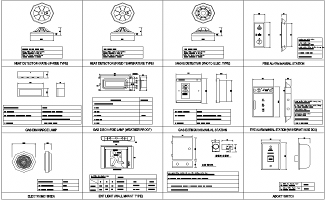 Autocad DWg file Given the details of heat detector,,smoke detector,fire alarm,Gas extinguisher elevation drawing.Download the DWG file.