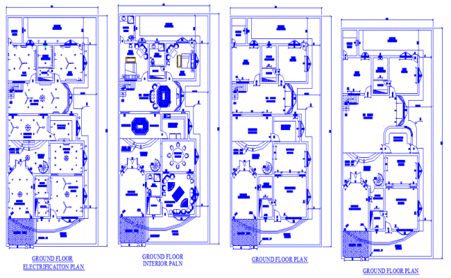 Autocad Drawing file shows 45'X90' Floor plan of Single story 2bhk house with an electrical plan and interior plan.Download the DWG file.