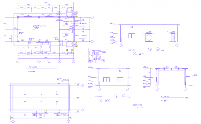 Autocad Drawing of 15500X7800mm Igniting oil pump building floor,section and elevation design.Download the DWG file.