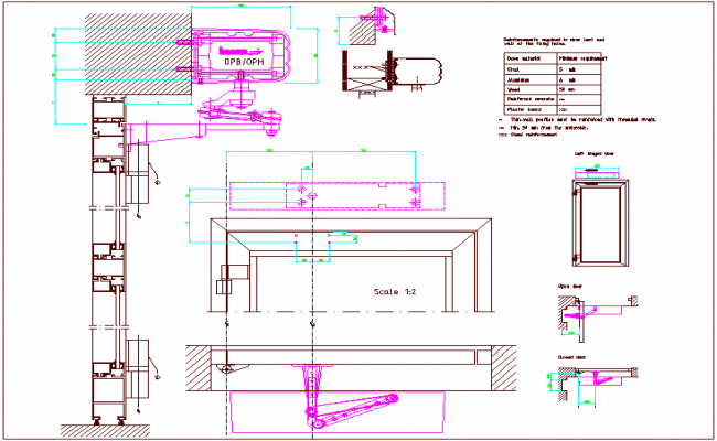 Automatic door design view, open & closed door design view dwg file