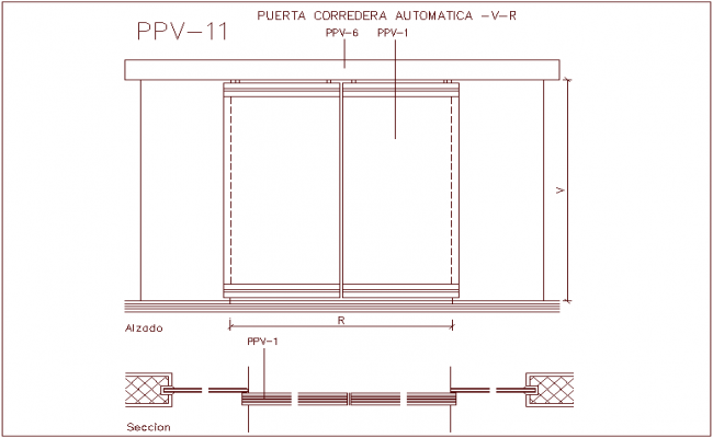 Automatic sliding door design view with sectional dwg