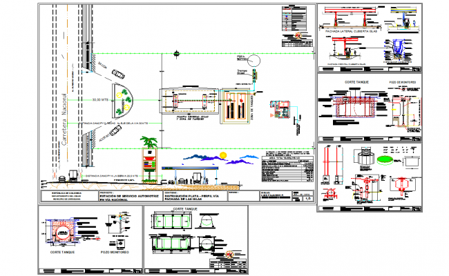 Automative service station architecture drawing in cad