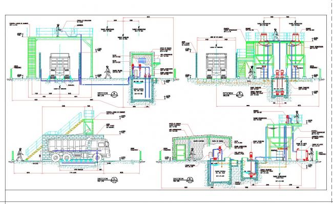 Autometic vehicle wash service stations detail cad drawing