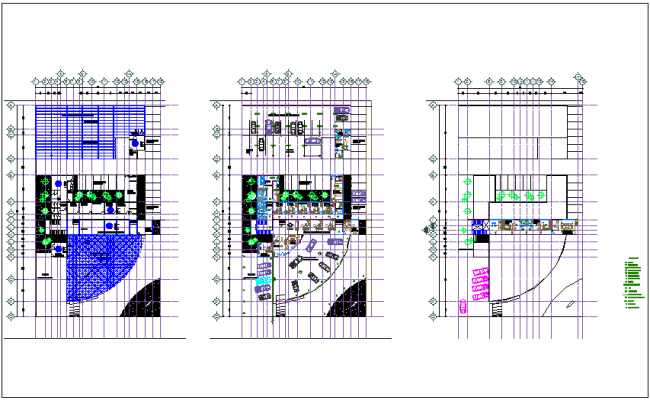 Automobile agency with showroom floor plan view dwg file