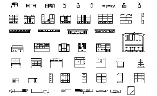Auxiliary Furniture plan and elevation dwg file