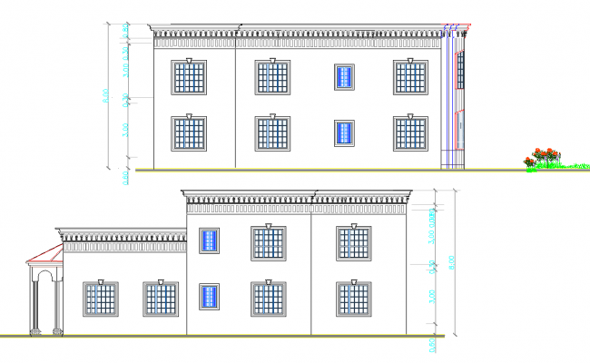 Back and side elevation view of residential bungalow dwg file