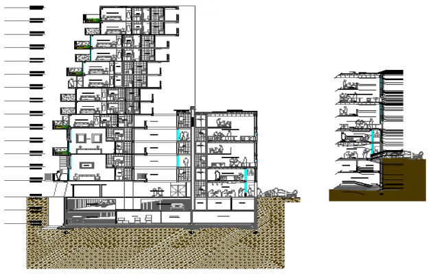 Back and side sectional view details of corporate building dwg file