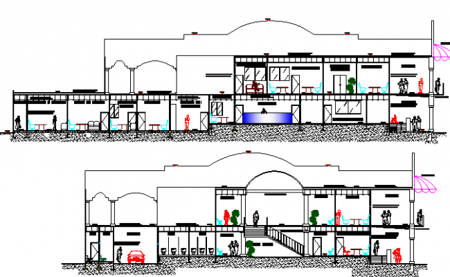 Back and side sectional view of municipal town hall project dwg file