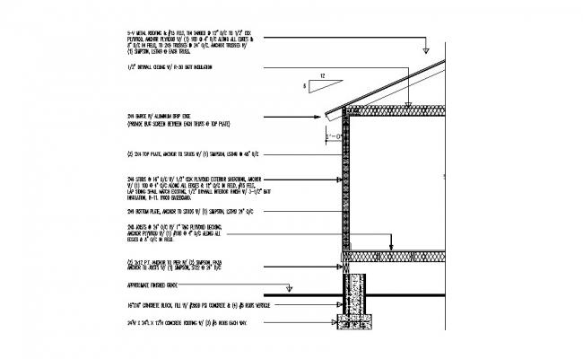 Back constructive sectional details of house building dwg file