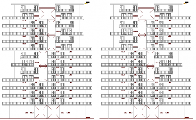 Back elevation detailed view of multi-family housing building dwg file