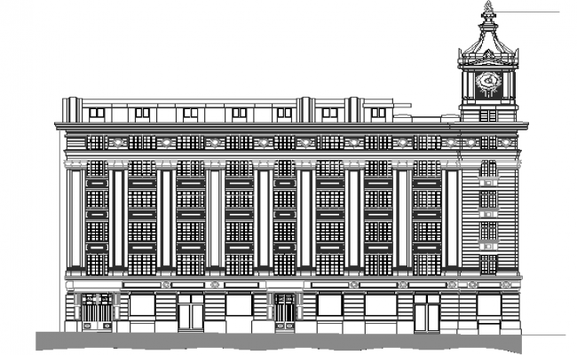 Back elevation view details of multi-flooring government building dwg file