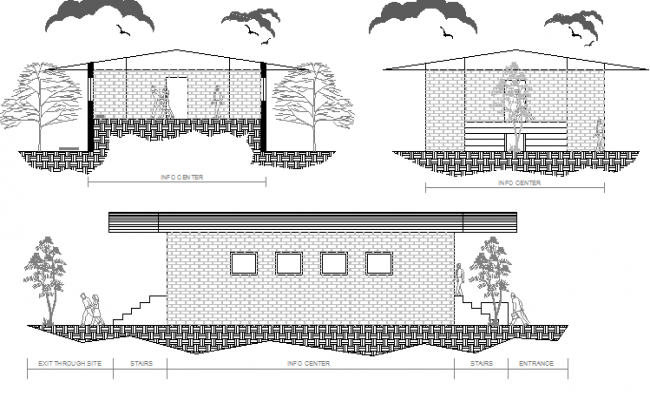 Back elevation view of single family house project dwg file