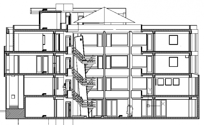 Back sectional view details of office building dwg file