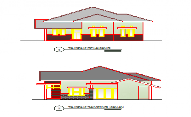 Back side and right side elevation view design drawing