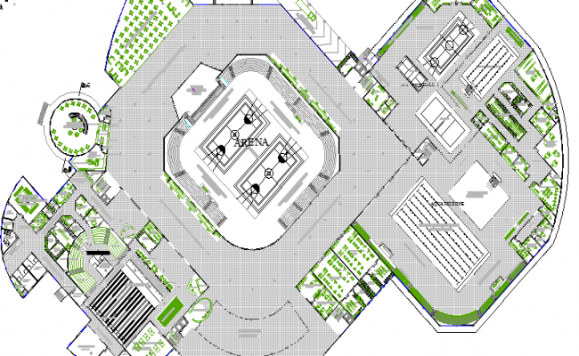 Badminton Play Ground Architecture Layout dwg file