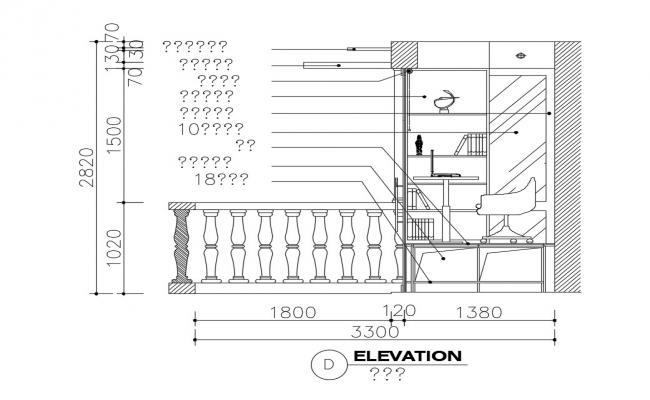 Balcony attach to bedroom and desk elevation cad drawing details dwg file