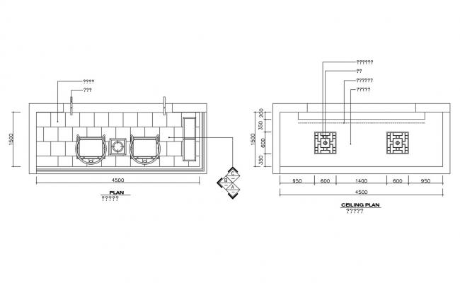 Balcony plan and ceiling plan of balcony cad plan details dwg file