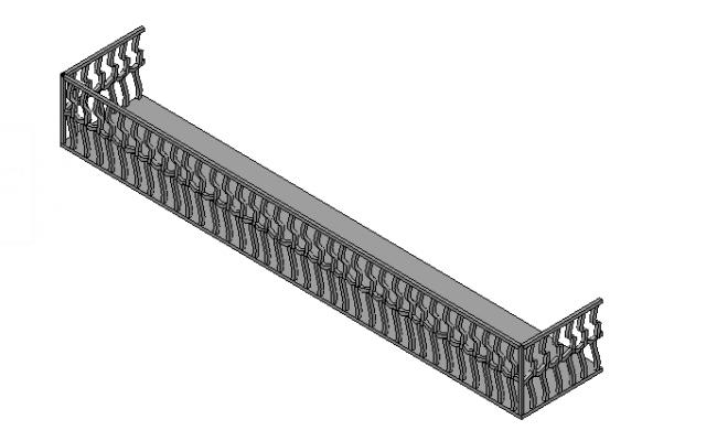 Balcony railing sectional detail 3d