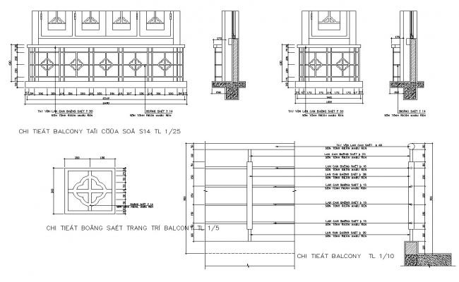 Balcony railing structure detail CAD constructive block layout file in dwg format