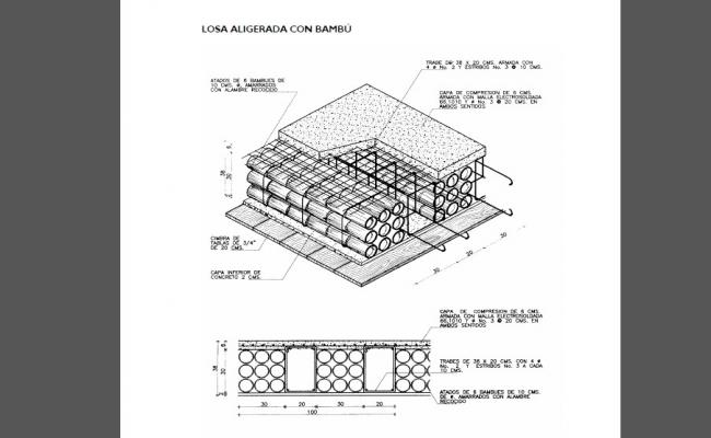 Bamboo beams layer and structure details for roof house dwg file