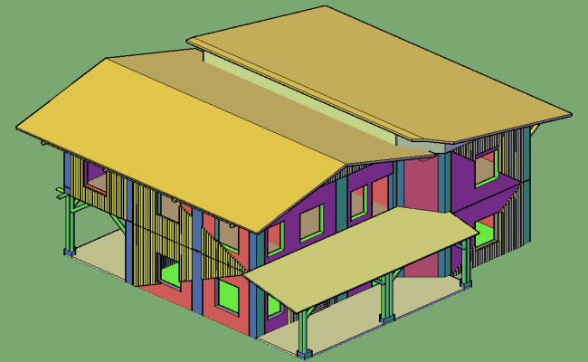 Bamboo house 3 D house plan detail dwg file