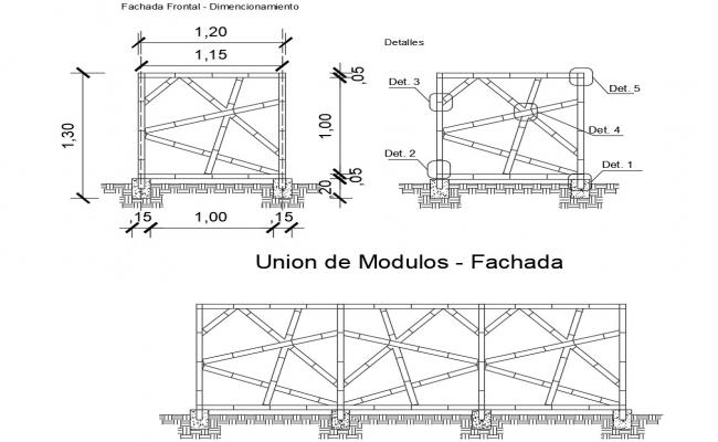 Bamboo union module designs cad drawing details dwg file
