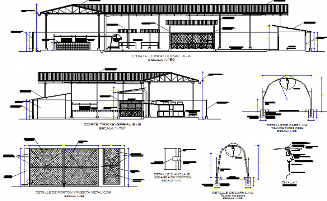 Banana packing plant section detail dwg file