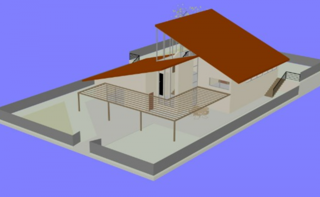 Banglow terrace 3d dwg file