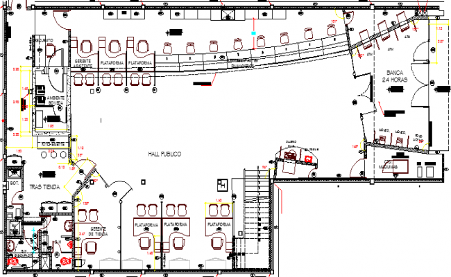 Bank Office Furnished Plan and Structure Details dwg file