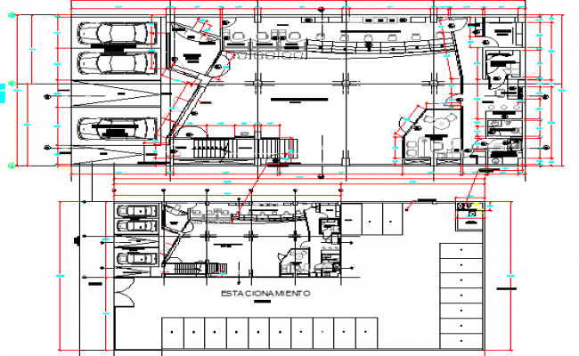 Bank agency basement and general layout plan details dwg file