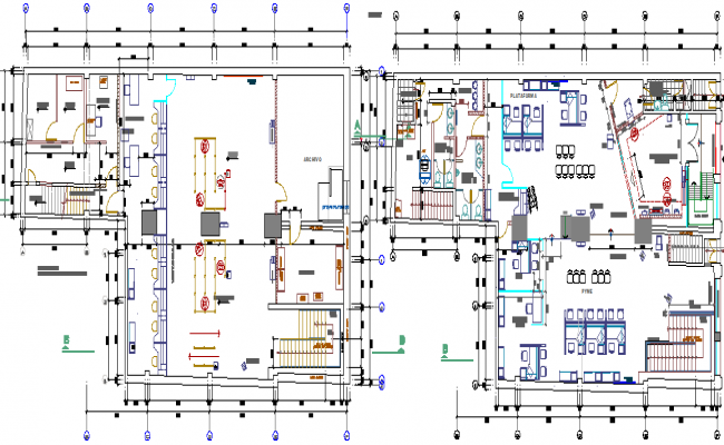 Bank agency layout plan dwg file
