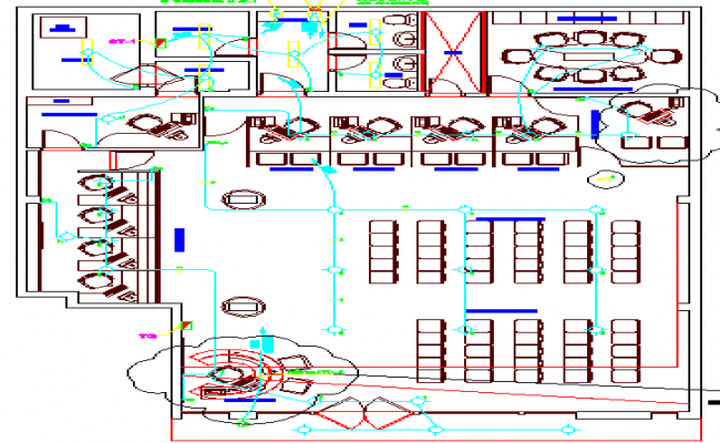 Bank architecture layout plan details with electric installation dwg file